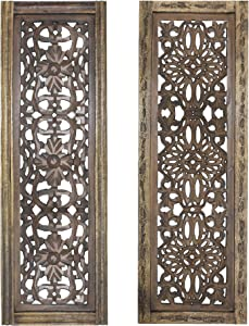 TUP The Urban Port Floral Hand Carved Wooden Wall Panels, Assortment of Two, Rustic Brown