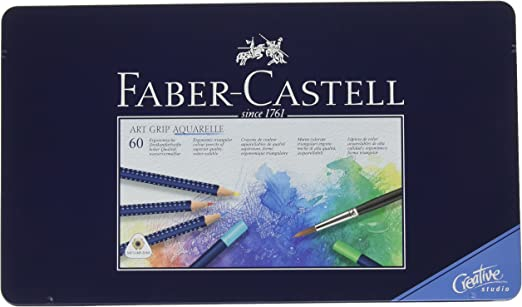 Faber-Castell 114260 - Estuche de metal con 60 ecolápices triangulares acuarelables Art Grip, lápices para adultos: Amazon.es: Oficina y papelería
