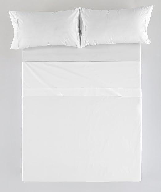 ESTELA - Juego de sábanas Liso Color Blanco (4 Piezas) - Cama de ...
