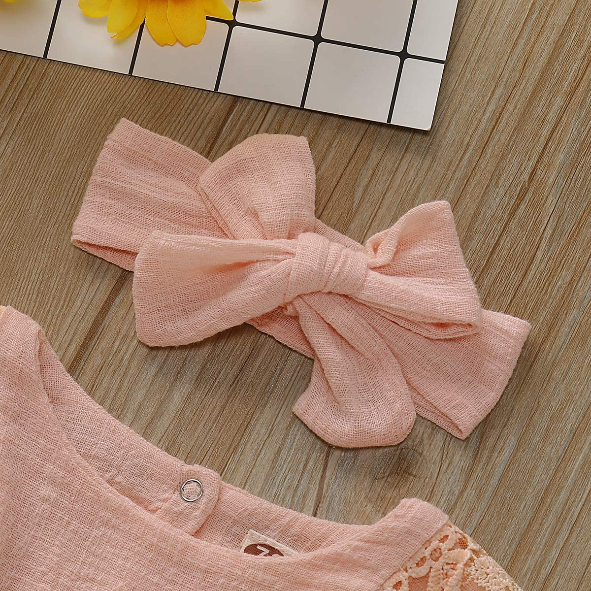 Bow Headband Toddlder Kids Overalls Summer Outfits ZOELNIC Infant Girl Linen Romper Baby Girls Sleeveless Lace Jumpsuit