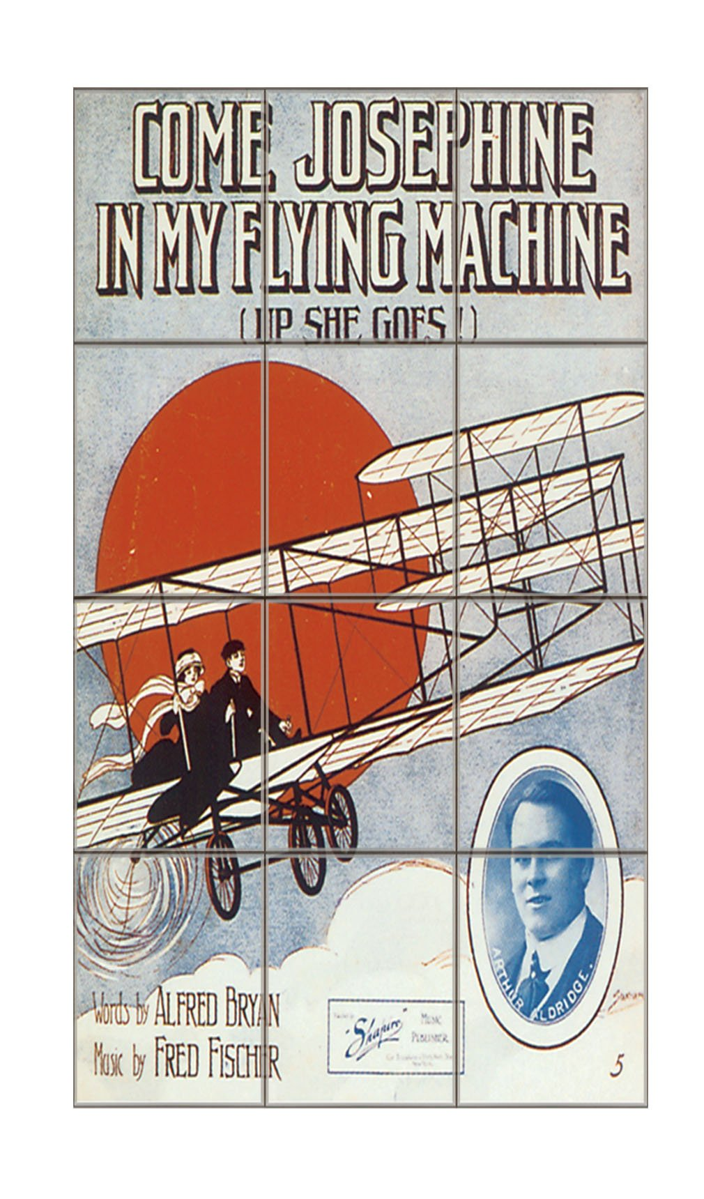 Come Josephine In Flying Machine Poster Vertical Tile Mural Satin Finish 16''Hx12''W 4 Inch Tile