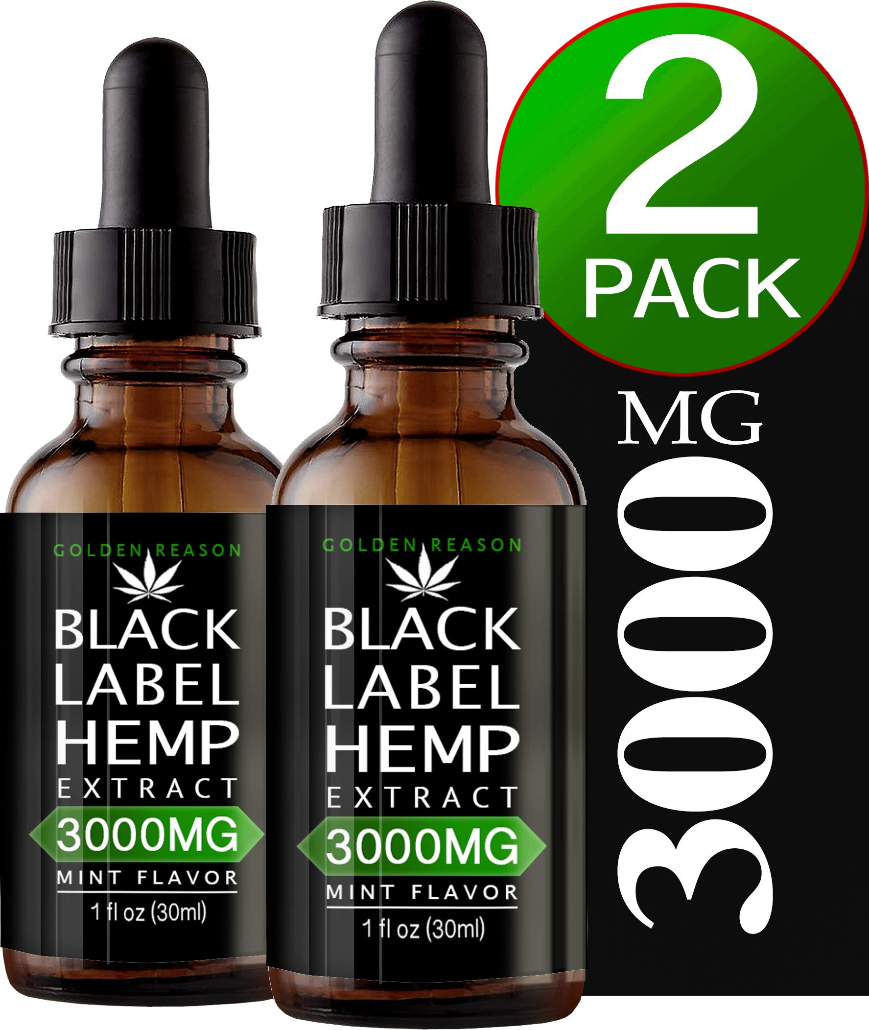 2 Pack Hemp Oil 3000MG. Anxiety Reducer. Pain Relief. Weight Management .Natural Sleep Aid. Helps Improve Nerve Health & Helps Regulate Metabolism. with Natural Mint Flavor.