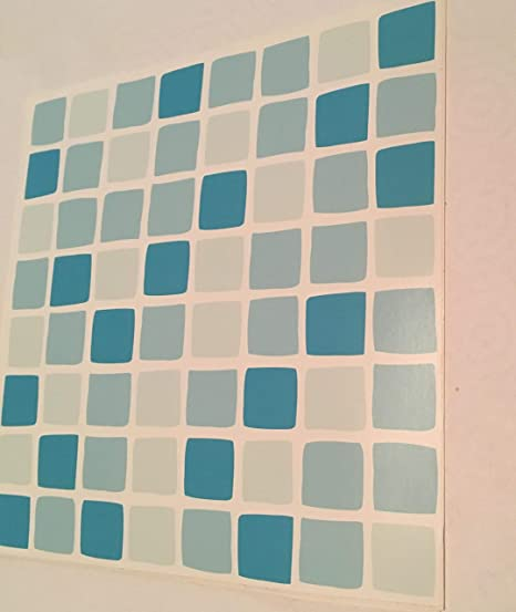 Pack Of 10 Turquoise Blue Mosaic Tile Transfers Stickers Quickly - Blue-bathroom-tile-stickers