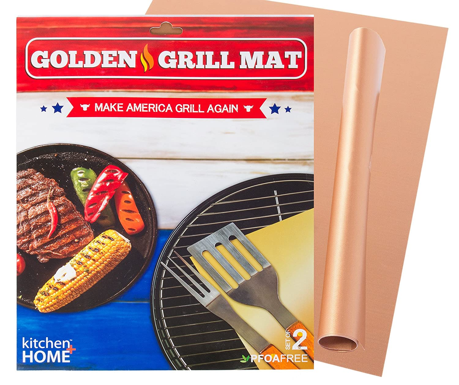 Kitchen Home Golden Grill Mat Make America Grill Again – Set of 2 Nonstick, Heavy Duty, Reusable, BPA PFOA Free BBQ Grill Baking Mats for Gas, Charcoal Electric Grills