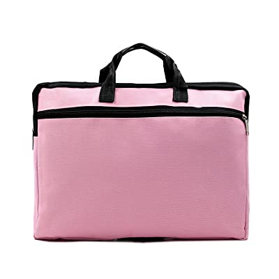 A4 Canvas File Document Bag Organizer Case Handle Messenger Briefcase Bags Zipper For Women Men Pink