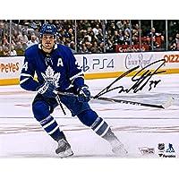 "$149 » Auston Matthews Toronto Maple Leafs Autographed 8"" x 10"" Blue Jersey Stopping Photograph - Autographed NHL Photos"