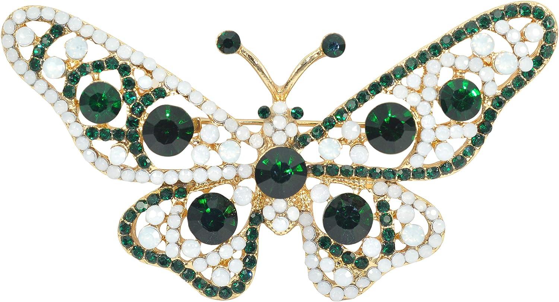 Gyn/&Joy Winged Butterfly Crystal Rhinestones Brooch Pin Green,Pink or Colorful!