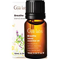 Gya Labs Breathe Essential Oil Blend - Peppermint & Eucalyptus for Sinus Relief & Congestion Relief (10ml) - 100% Pure…