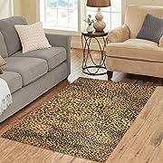 InterestPrint Brown Leopard Print Area Rug 5'3  x 4' - Animal Fur Print Modern Indoor Carpet Floor Rugs Collection for Living Room Bedroom