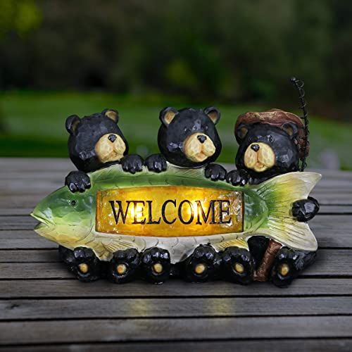 Exhart Bear Welcome Sign Garden Statue Three Bears Who Love to Fish