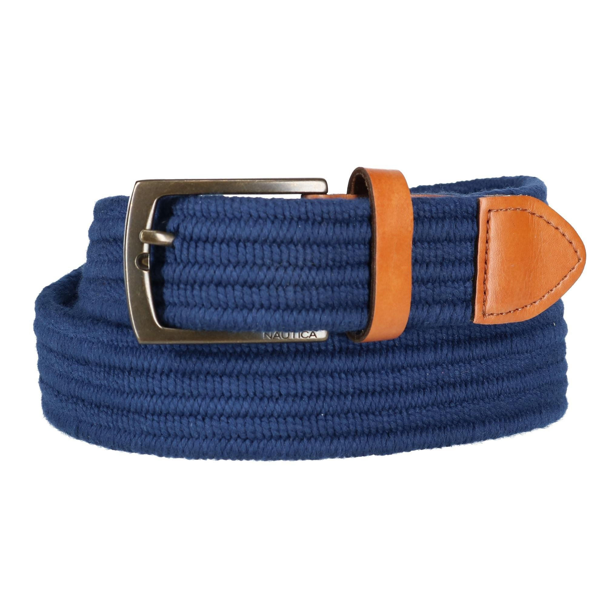 Nautica Men's Stretch Braided Fabric Belt, Large, Navy
