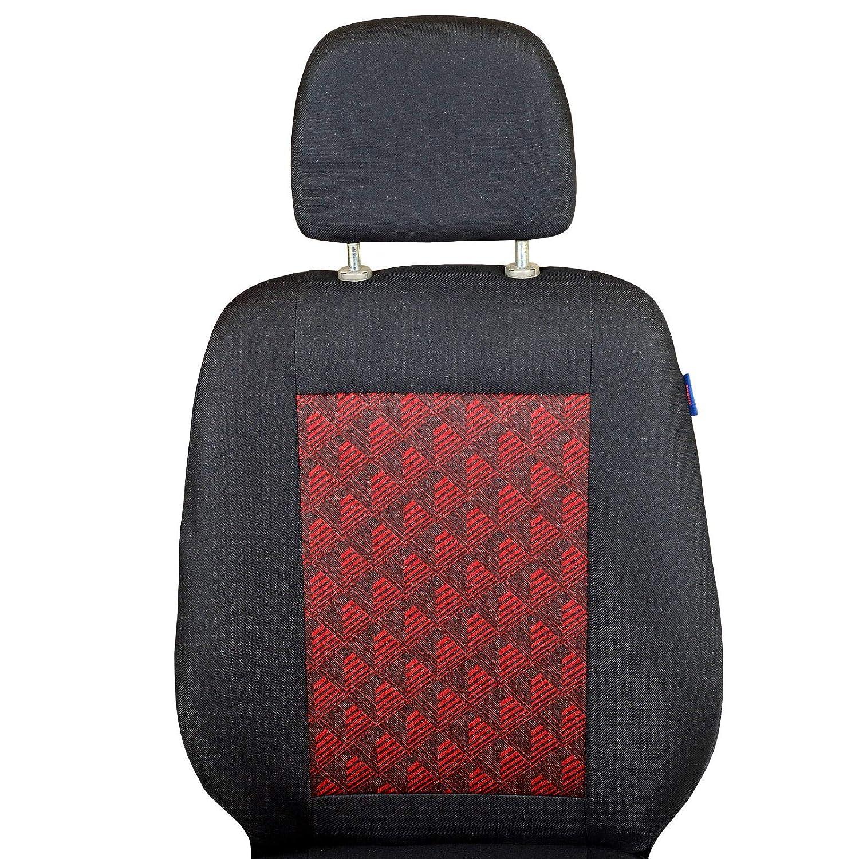 Colore Premium Nero con Un Effetto 3D Rosso Set di Coprisedili 1+2 Zakschneider Coprisedile per Citroen Jumper