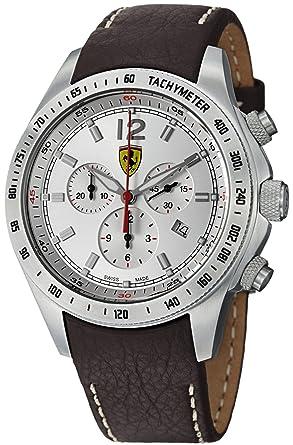 afb6ca5a7 Ferrari Scuderia Ferrari Chrono Swiss Made Men's Brown Leather Strap Watch  FE-07-ACC