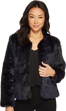 Tavik Women s Oliver Faux Fur Jacket Black Evening Blue Stripe X-Small 12ec8e171