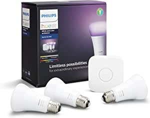 Philips Hue White and Colour Ambiance Smart Bulb Starter Kit - Edison Screw E27 (Compatible with Amazon Alexa, Apple HomeKit, and Google Assistant)
