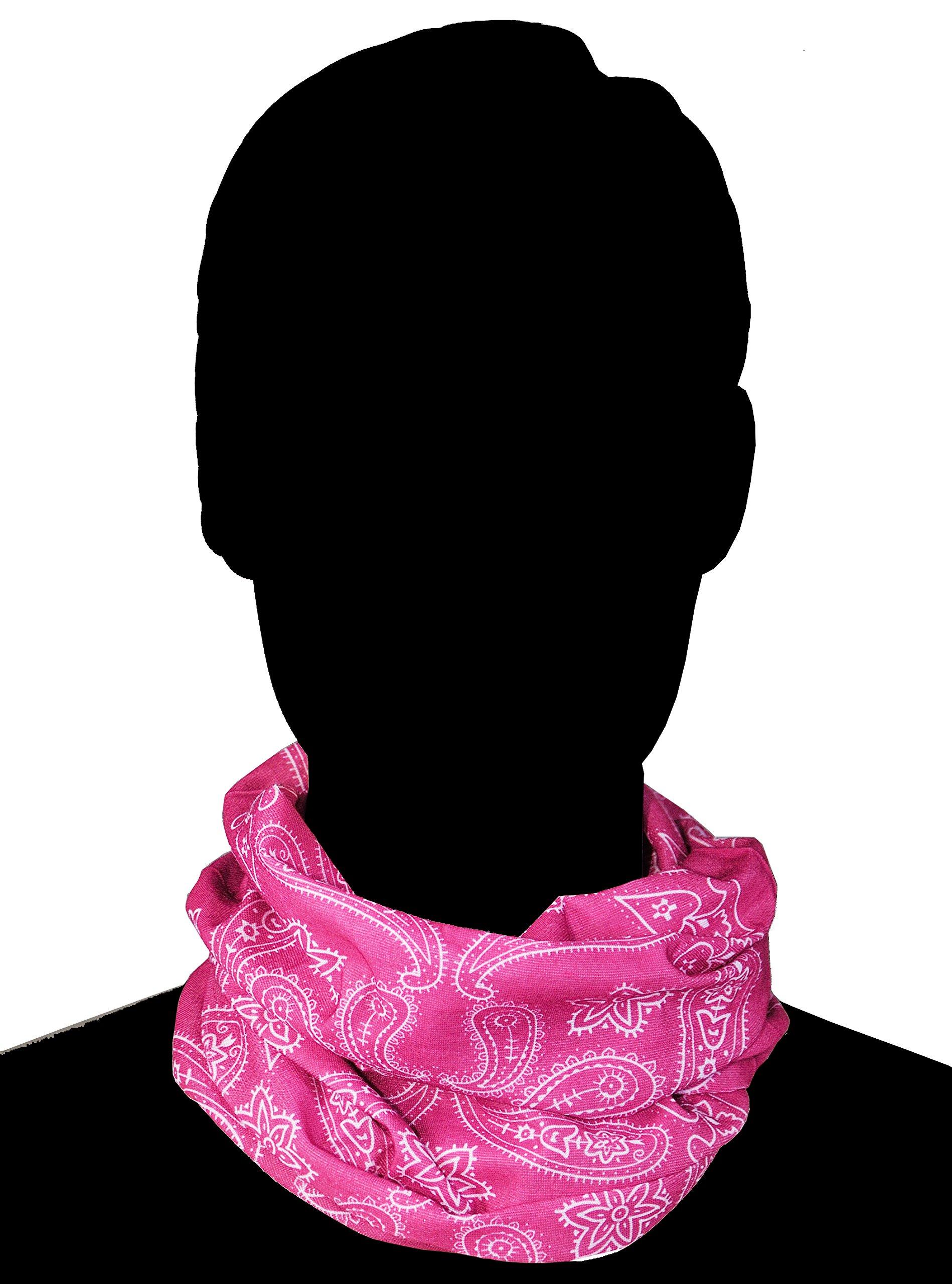 Triple9 Automotive Gear Balaclavas Seamless Face Mask Bandanas (Large paisley- Pink) by Triple9 Shop (Image #3)