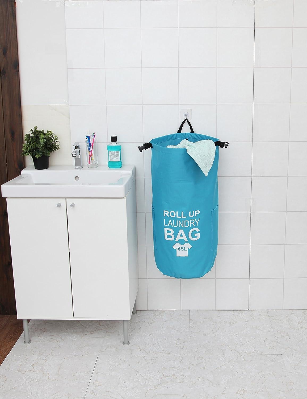 Waterproof Laundry Bag Backpack with Adjustable Shoulder Strap ITIDY Laundry-Bag Hamper Backpack Blue Rolling up Closure and Fastener 45L