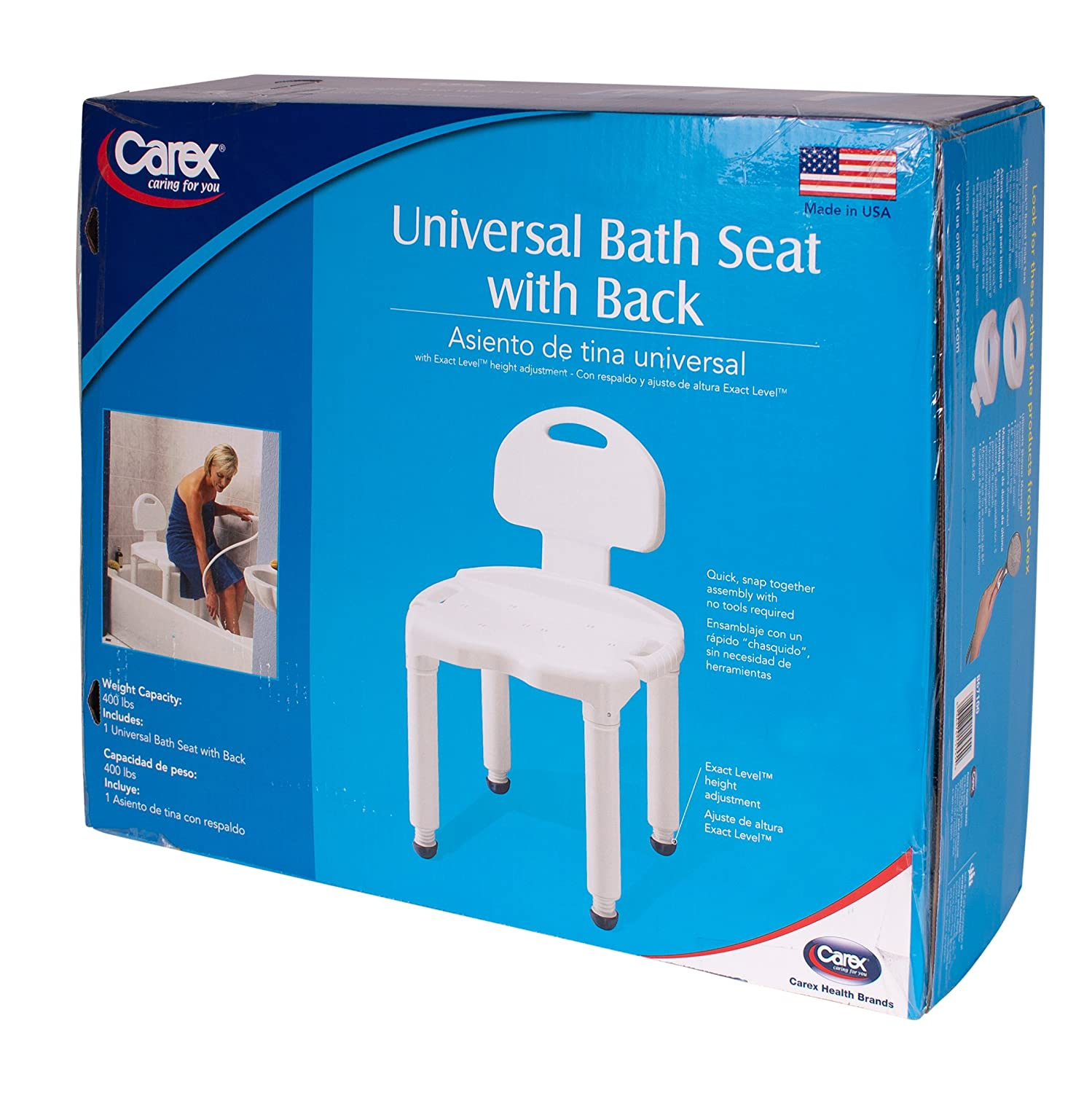 Amazon.com: Carex Universal Bath Bench with Back, with Support for ...