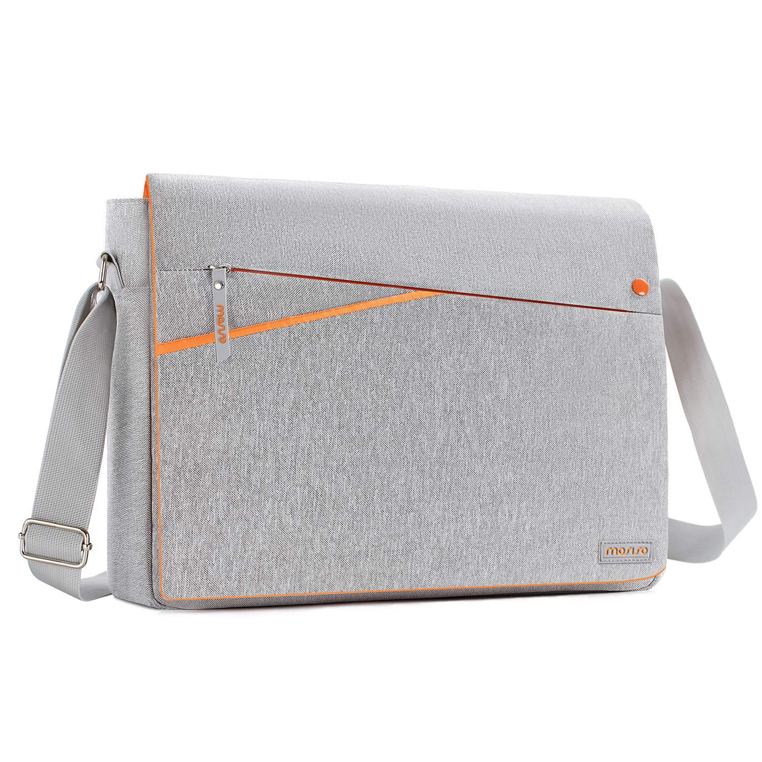 MOSISO Laptop Shoulder Bag Compatible 13-13.3 Inch MacBook Pro, MacBook Air, Notebook Computer with Two Side Pockets Storage, Protective Spill-Resistant Polyester Carrying Case Cover, Gray and Orange