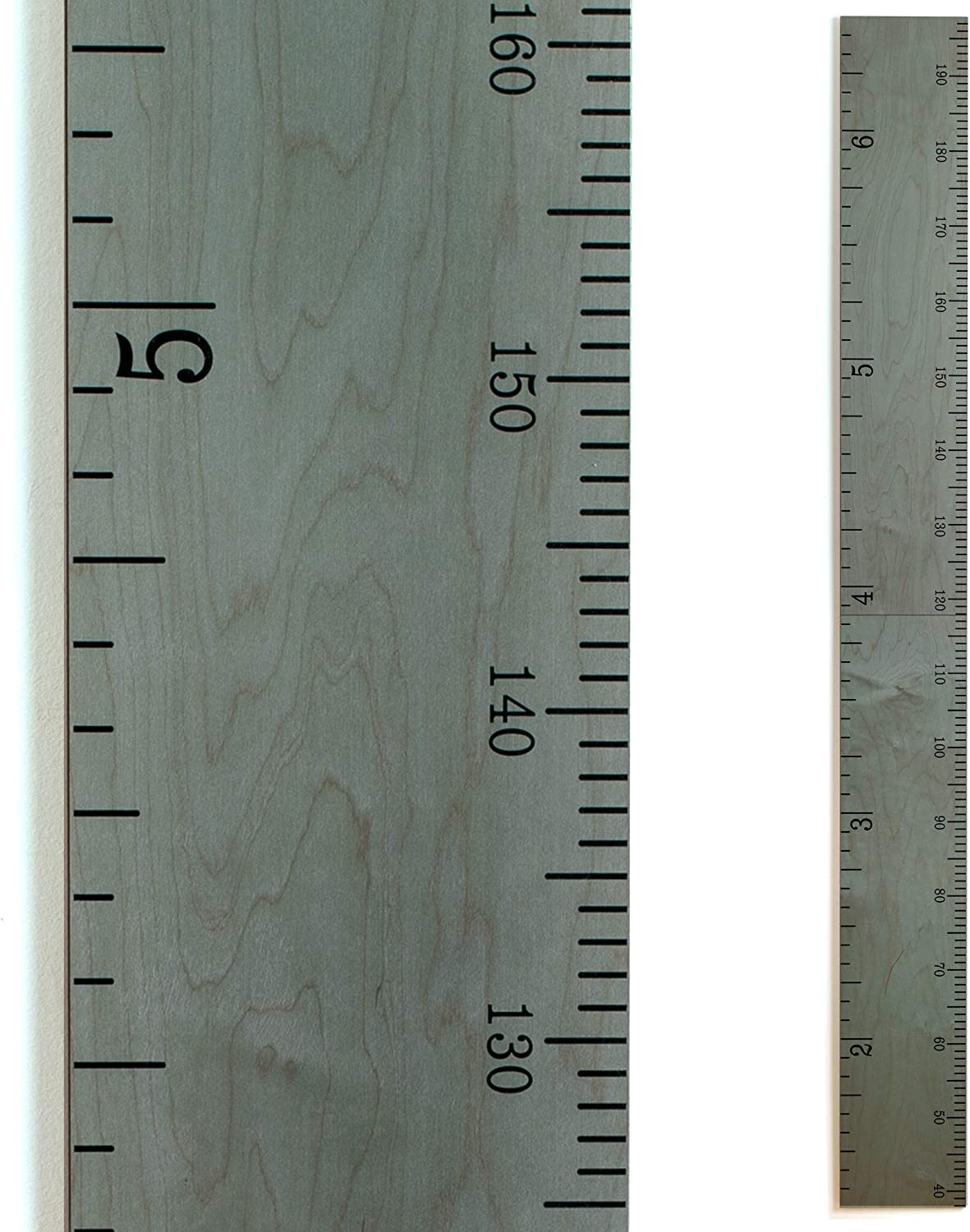 Wooden Growth Chart Ruler for Boys + Girls | Growth Chart Ruler Kids Height Chart | Classic Gray Wood Ruler Measurement with Inches/Centimeters