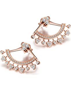 CZ AAA Quality Stud and Jacket Earrings Set Unique Royal Jewelry QE-ET55-BEZEL-YOSI-03 Ear Jacket 2 in 1 Rose 14k Gold Plated-Sterling Silver