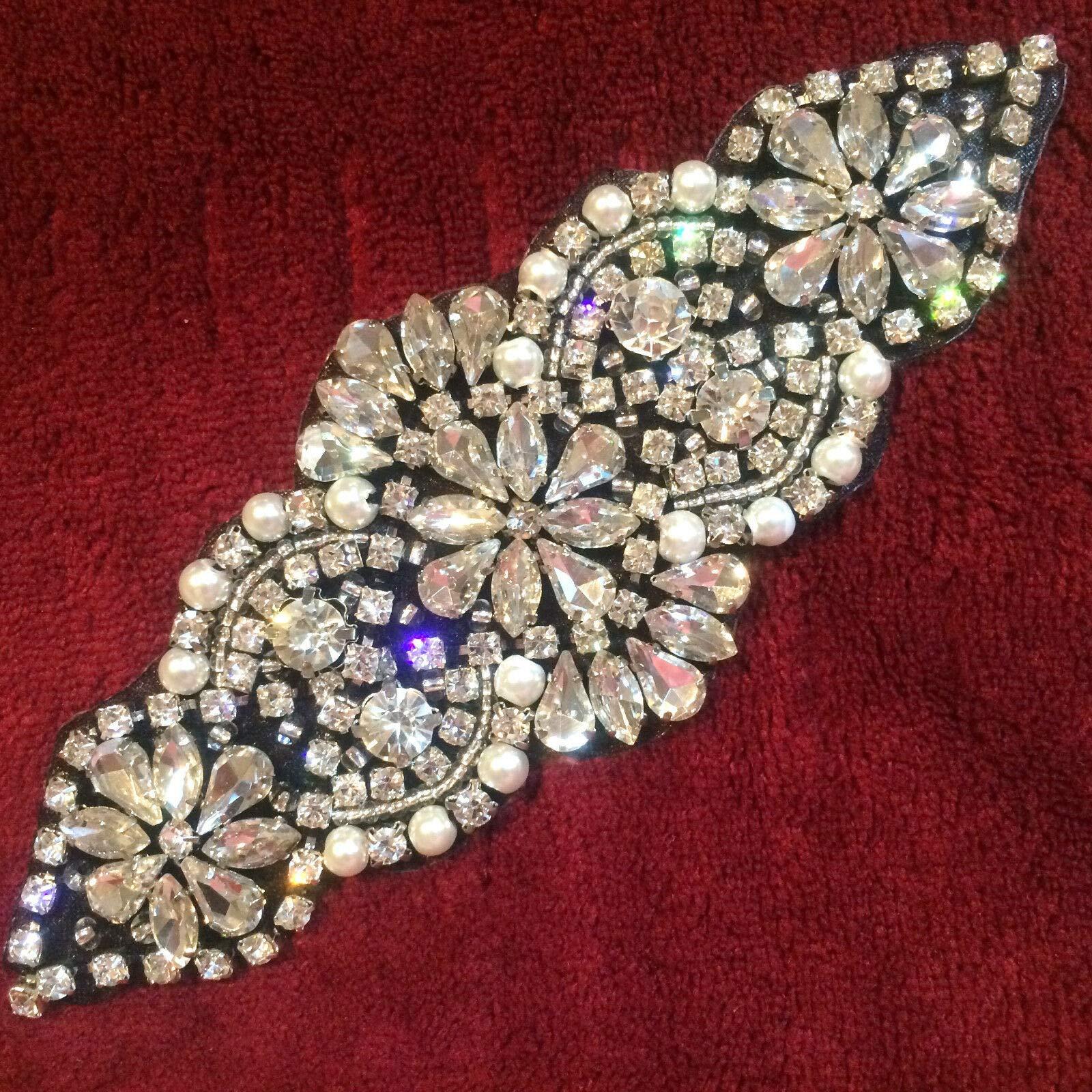 XR250 Bridal Applique Crystal Rhinestones Silver Beads Black Backing w Pearls 6'' by GL Appliques