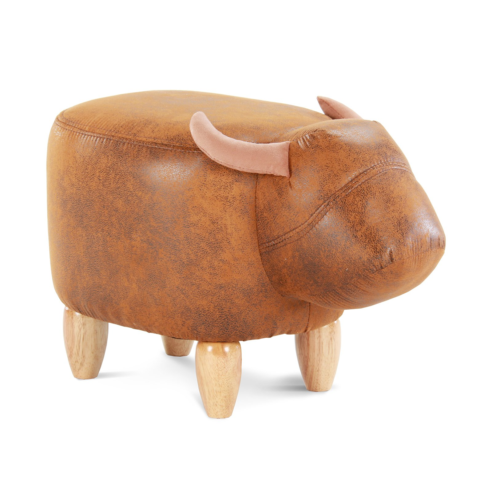 Artechworks Upholstered Ride-On Animal Ottoman Footrest Stool with Vivid Adorable Animal-Like Features,Perfect for Gift, Changing Shoes, Decoration, Toys, Without Storage(Brown Buffalo) by Artechworks (Image #1)