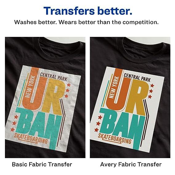 Avery Printable T-Shirt Transfers, For Use on Dark Fabrics, Inkjet  Printers, 5 Paper Transfers (3279)