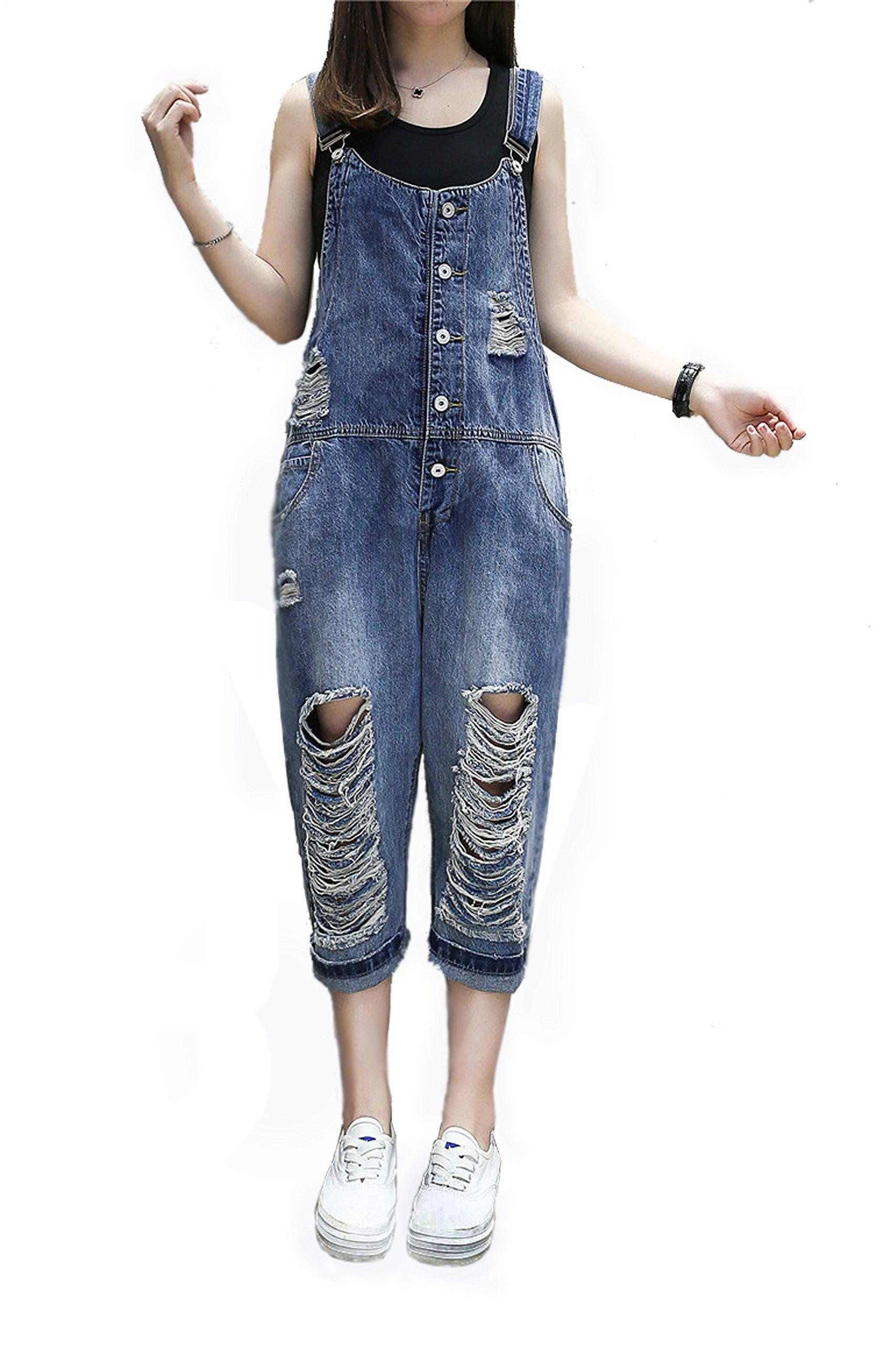 ead07f2027a yiboolai Overalls for Women Baggy Denim Overalls Jumpsuit Sleeveless Romper  Harem Jeans Pants