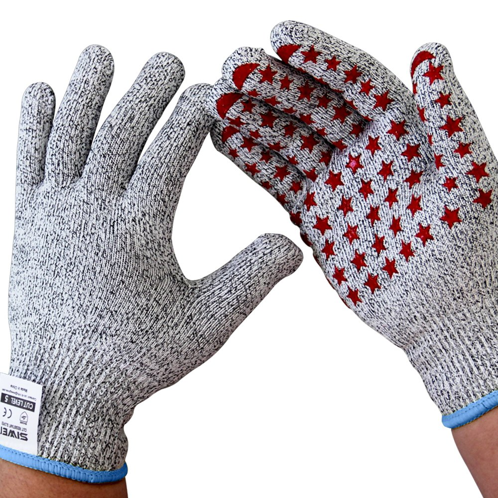 Seeway Cut Resistant Gloves With Grip Silicone EN388 Certified High Performance Level 5 Protection, 1 Pair Pack