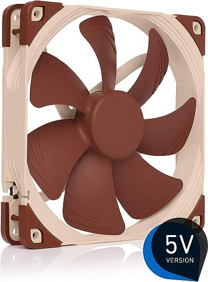 Noctua NF A14 5V, Ventilateur Silencieux Haut de Gamme avec Câble d'Adaptation USB, 3 Broches, Version 5V (140 mm, Marron)