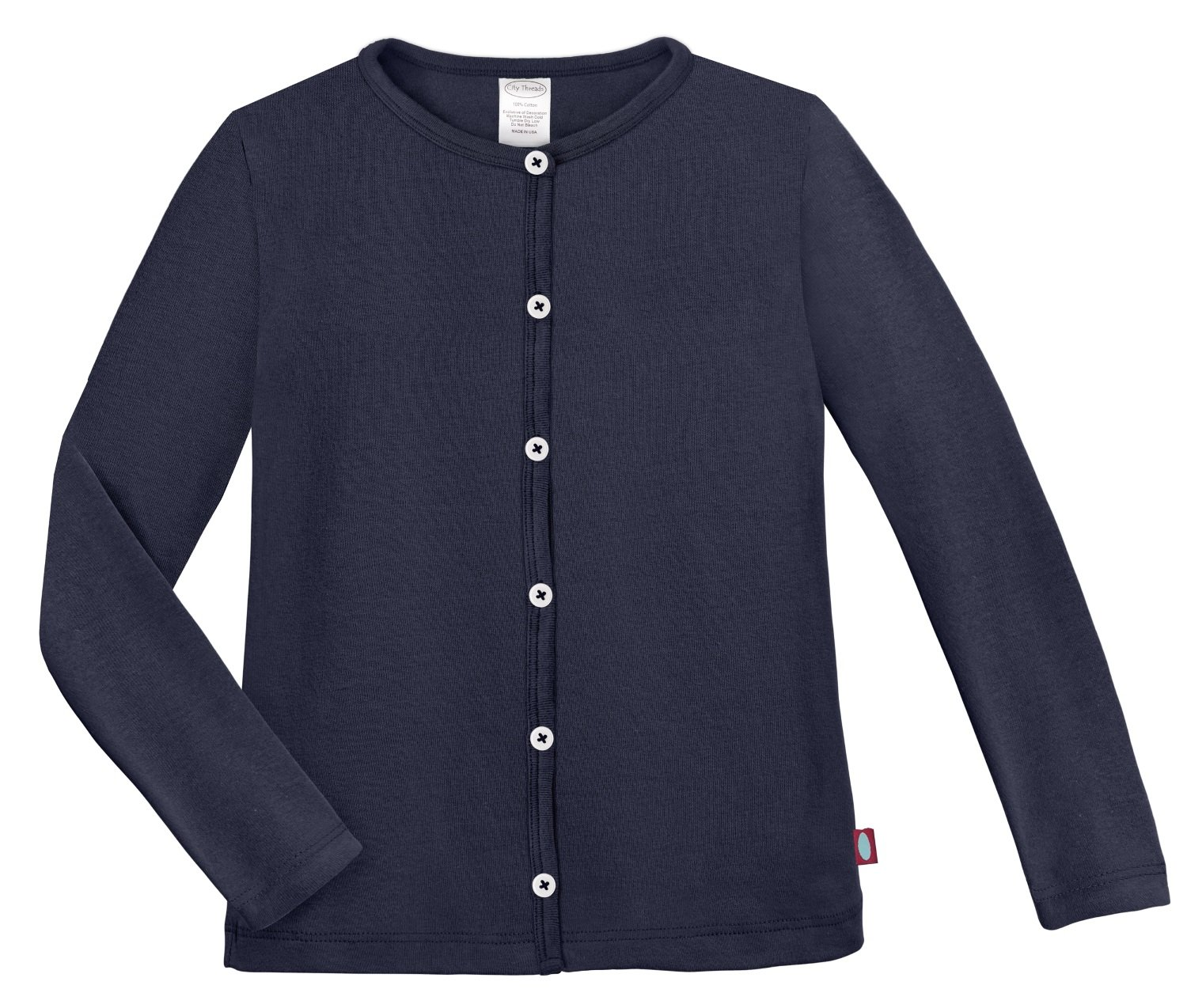 City Threads Girls Cardigan Top Button Down Sweater Layering School Play For Sensitive Skin SPD Sensory Friendly, Navy, 4T