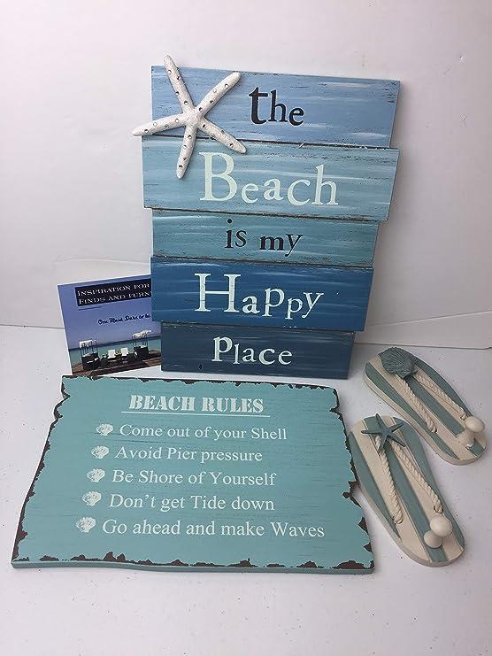 La playa es My Happy Place - Señal de playa Reglas signo ...