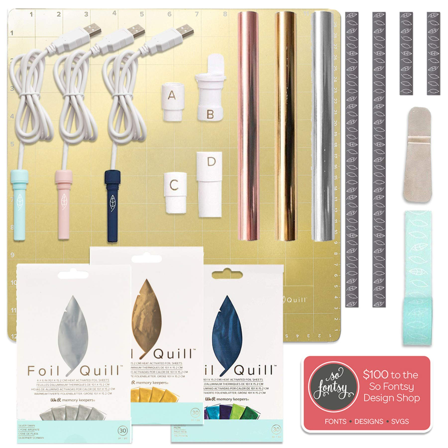 Foil Quill All-in-One Deluxe Bundle, 3 Quill Sizes, Magnetic Mat, 90 Foil Sheets, Adapters, Foils, Tape, Design Card
