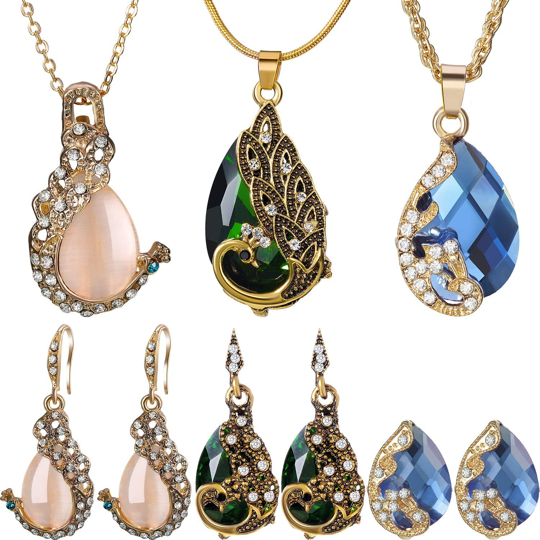 Hicarer 6 Pieces Women Elegant Necklace Set Peacock Waterdrop Rhinestone Pendant Necklace Crystal Peacock Pattern Earrings Jewelry