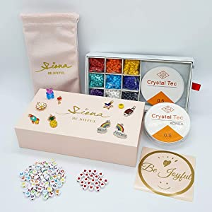 SIONA DIY Beading Kits for Starters Bracelet Making kit with 4mm Glass Seed Beads Charms with Jump Rings Alphabet Letters Heart Beads Instructions Jewelry Box Pouch Gift for Girls Teens Adults