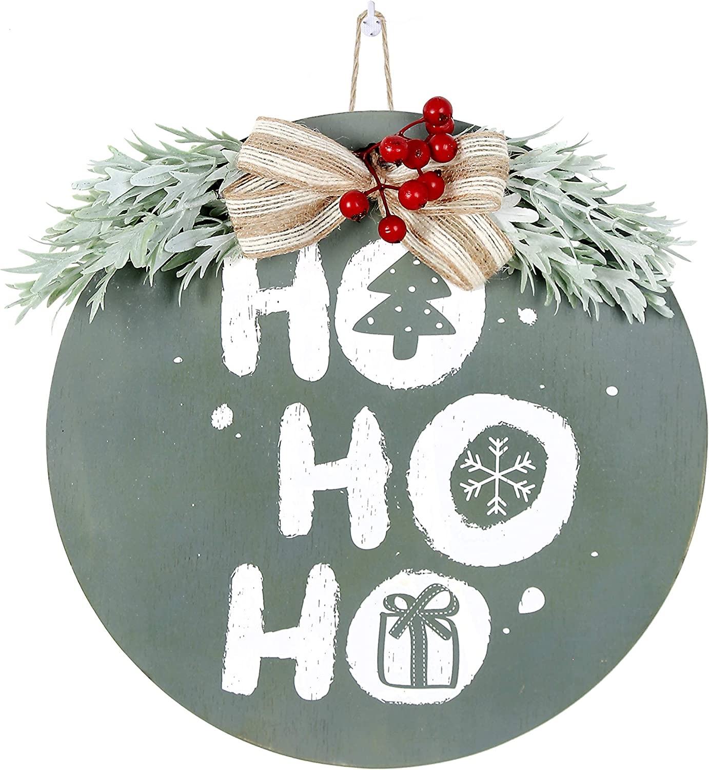 OCIOLI Merry Christmas Decorations Wreath Christmas Hanging Sign Rustic Burlap Wooden Holiday Decor Wooden Door Wall Hanging Ornaments for Christmas Front Door Wall Farmhouse Indoor Outdoor Decorations