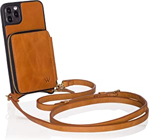 Wilken iPhone 11 Pro Max Crossbody Wallet Purse Case | Removable Wristlet and Shoulder Strap | Genuine Leather | Holds Cash and Credit Cards in Zipper Pouch | Highly Protective (Tan, 11 Pro Max)