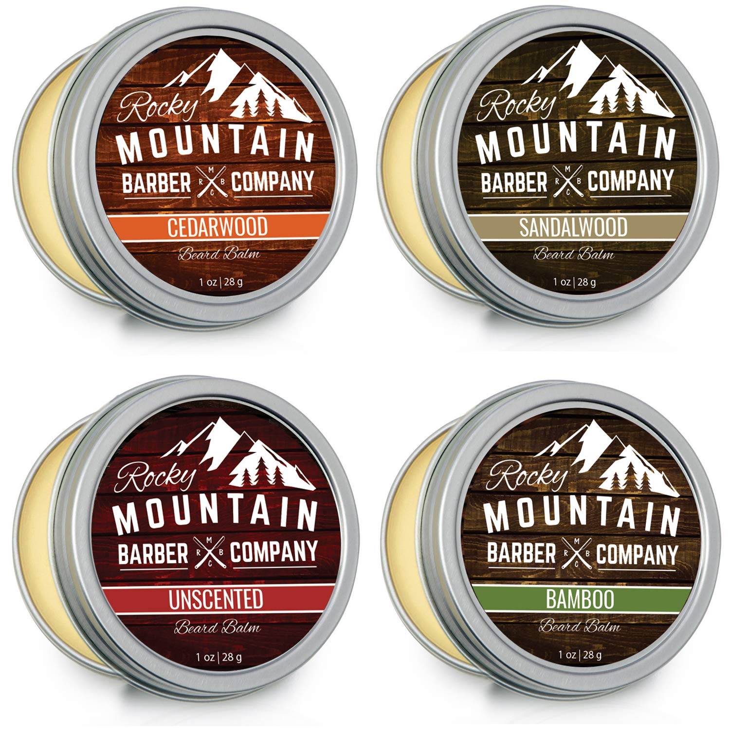 Beard Balm Variety Pack - 4 Beard Balm Samples (1 oz each) Made with Natural Oils, Butters & Rich in Vitamins & Minerals - Argan Oil, Shea Butter, Coconut Oil, Jojoba Oil to Hydrate, Condition