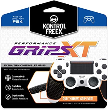 KontrolFreek Performance Grips XT for Playstation 4 | Extra-Thin Grips | Black (Extra-Thin)