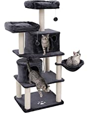 FEANDREA 58 Inch Cat Tree Tower with Sisal-Covered Scratching Post Plush Perch, Dark Gray UPCT90G