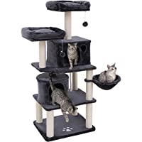 "FEANDREA Multi-Level 60"" Cat Tree with Sisal-Covered Scratching Posts, Plush Perches, Basket and 2 Condos, Cat Tower Furniture - for Kittens, Cats and Pets - Smoky Gray UPCT90G"
