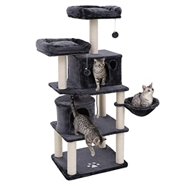SONGMICS 60  Multi-Level Cat Tree with Sisal-Covered Scratching Posts, Plush Perches, Basket and 2 Condos, Cat Tower Furniture - for Kittens, Cats and Pets
