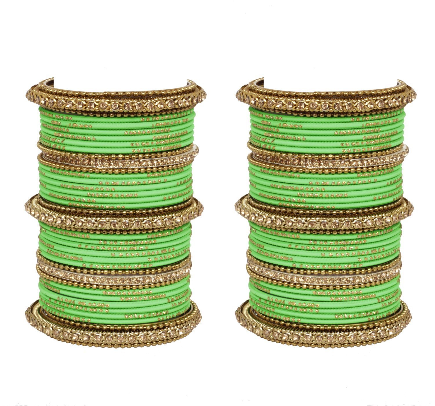 Ratna Bollywood Ethnic Parrot Green colour 78 bangles set Punjabi wedding wear Attractive bangles (2.8)
