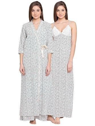 acde9eb9b2 Clovia Women's Cotton Rich Floral Print Nighty & Robe: Amazon.in: Clothing  & Accessories