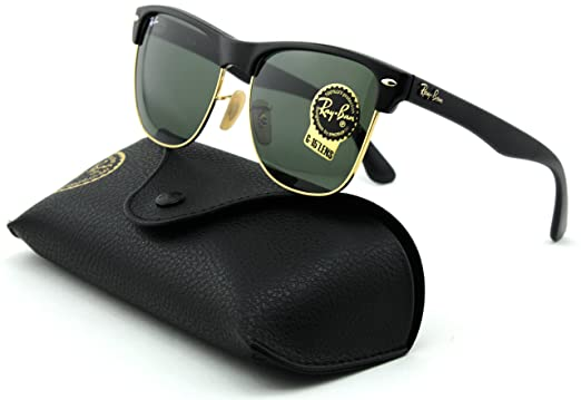 c544c9e1b Amazon.com: Ray-Ban RB4175 Clubmaster Oversized Unisex Square Sunglasses  (Shiny Black Arista Frame, Crystal Green Lens 877): Clothing