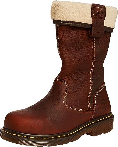 Dr Marten rosa fur lined ladies teak safety steel toe rigger boot