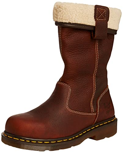 Dr. Martens Serena Fur Lined 8 Eye Boot(Women's) -Black Burnished Wyoming Cheap Sale Best Place oKCNFH6Zw