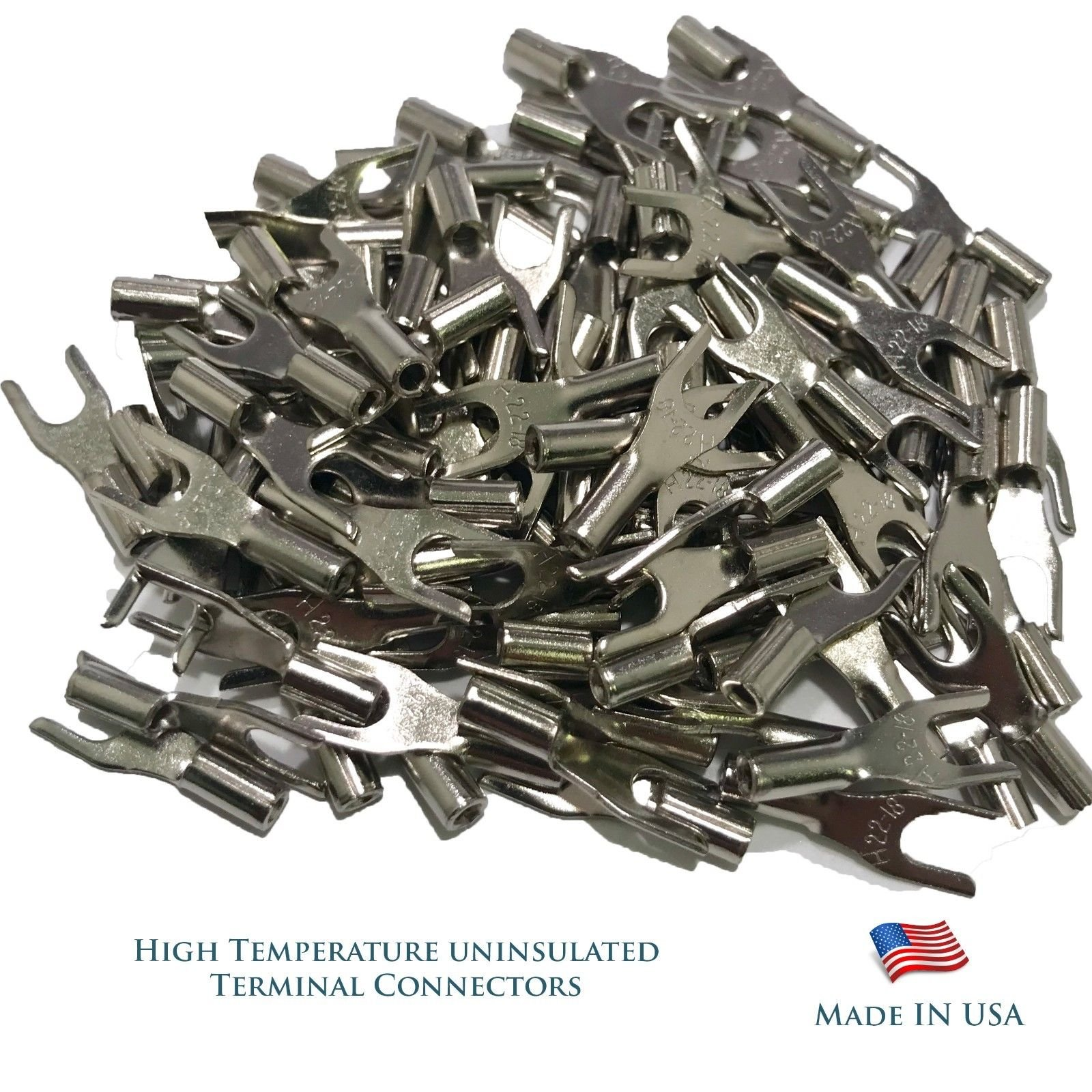 Sherco-Auto High Temperature 100 Pieces Terminal Connectors 16-14 AWG Gauge #8 Spade - USA Made by Sherco-Auto