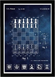 "Wynwood Studio Entertainment and Hobbies Framed Wall Art Prints 'Chess Method 2000 Chalkboard' Board Games Home Décor, 13"" x 19"", Blue, White"